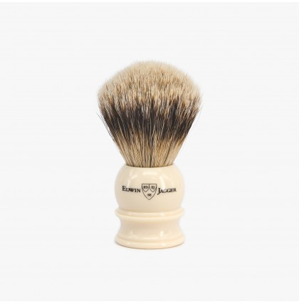 Edwin Jagger Medium Silvertip Shaving Brush with Imitation Ivory Handle