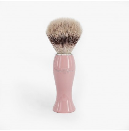 Edwin Jagger Synthetic Fibre Shaving Brush With Pink Handle