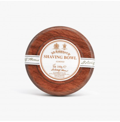 D R Harris Almond Shaving Soap With Mahogany Wood Bowl