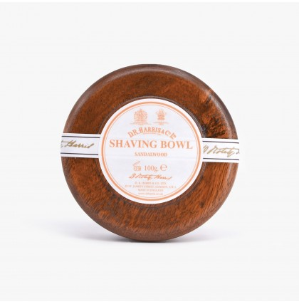 D R Harris Sandalwood Shaving Soap with Mahogany Wood Bowl