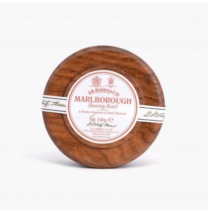 DR Harris Marlborough Shaving Soap with Mahogany Wood Bowl
