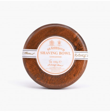 DR Harris Sandalwood Shaving Soap with Mahogany Wood Bowl